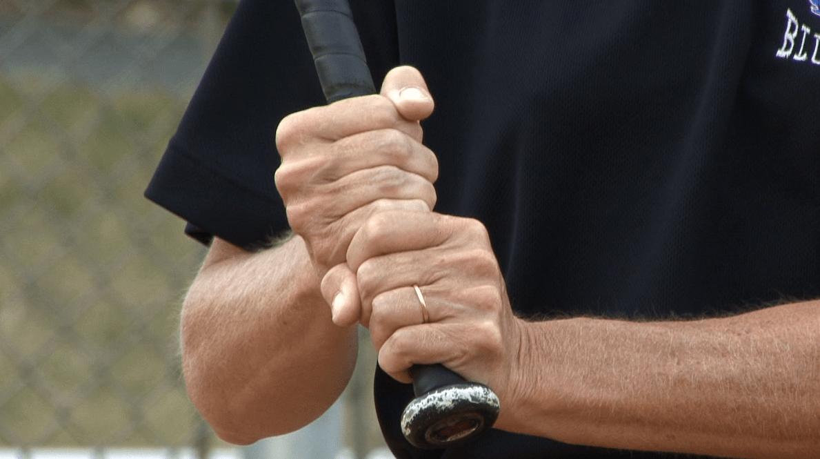 gripping a baseball bat