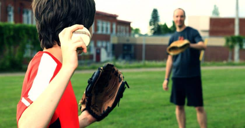 playing catch to break in a glove