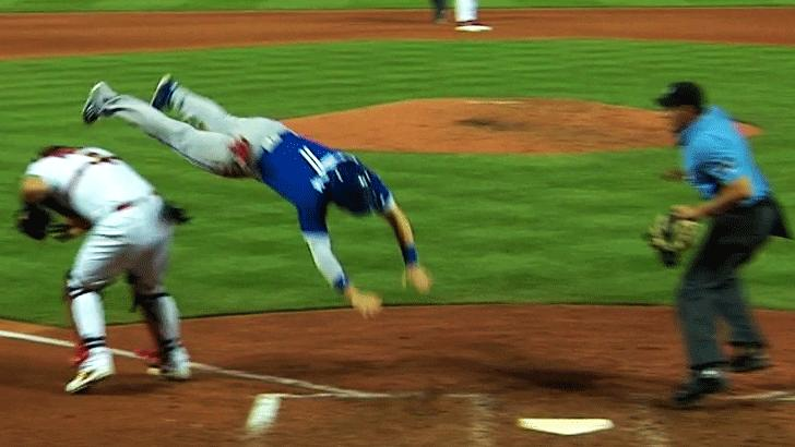 jumping over the catcher from third base
